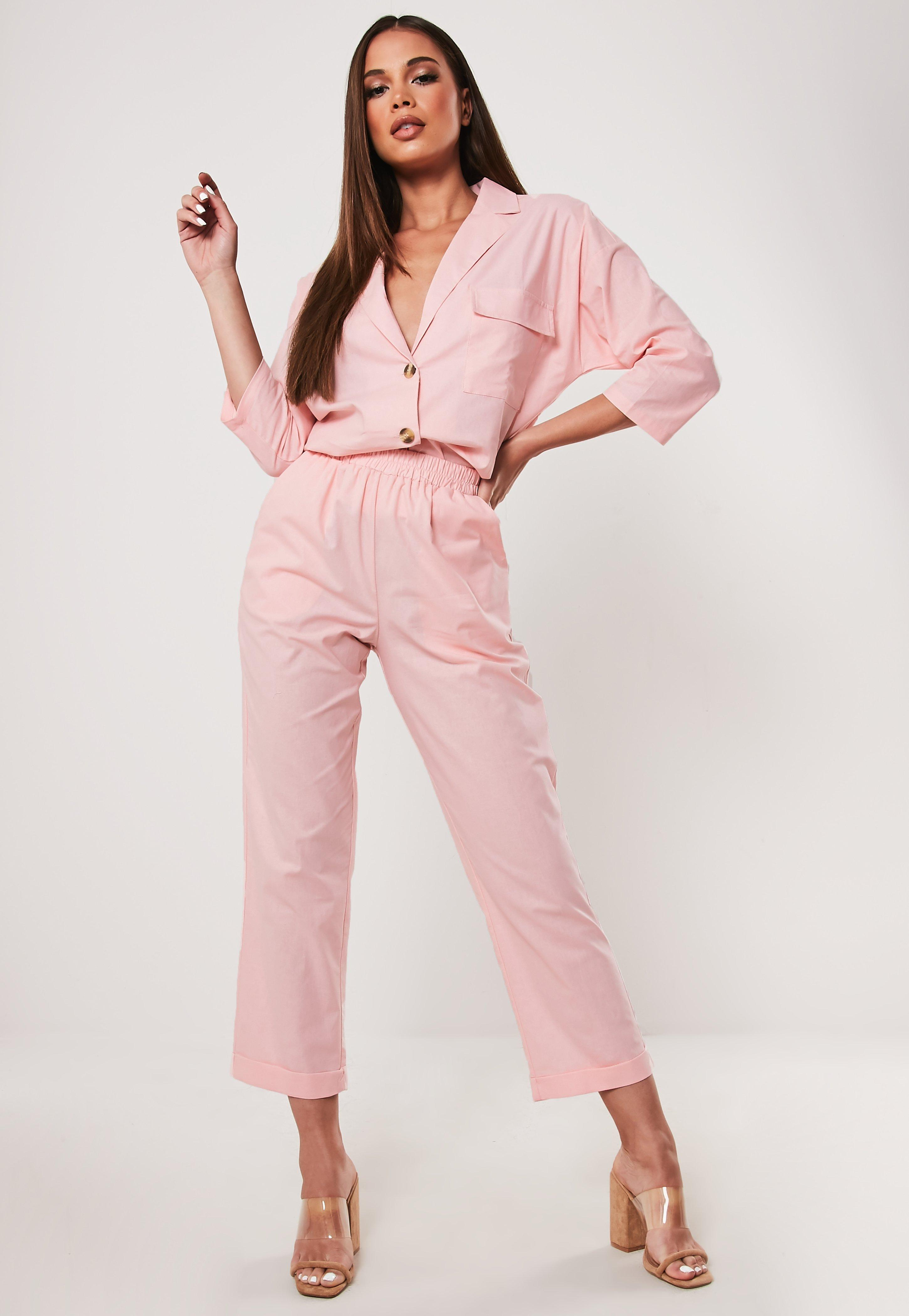 298f76c26790 Pink Co Ord Linen Look Cigarette Trousers | Missguided
