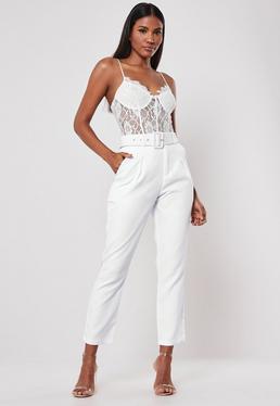 Белые квадратные брюки с пряжкой