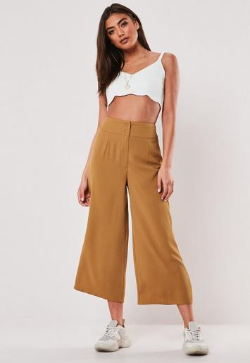 Tan Pleated Detail Culottes by Missguided