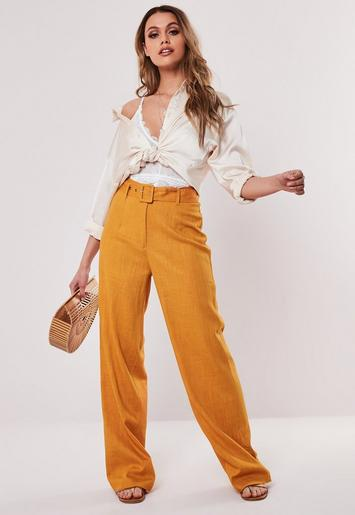 Orange Linen Look Fabric Belted Trousers by Missguided