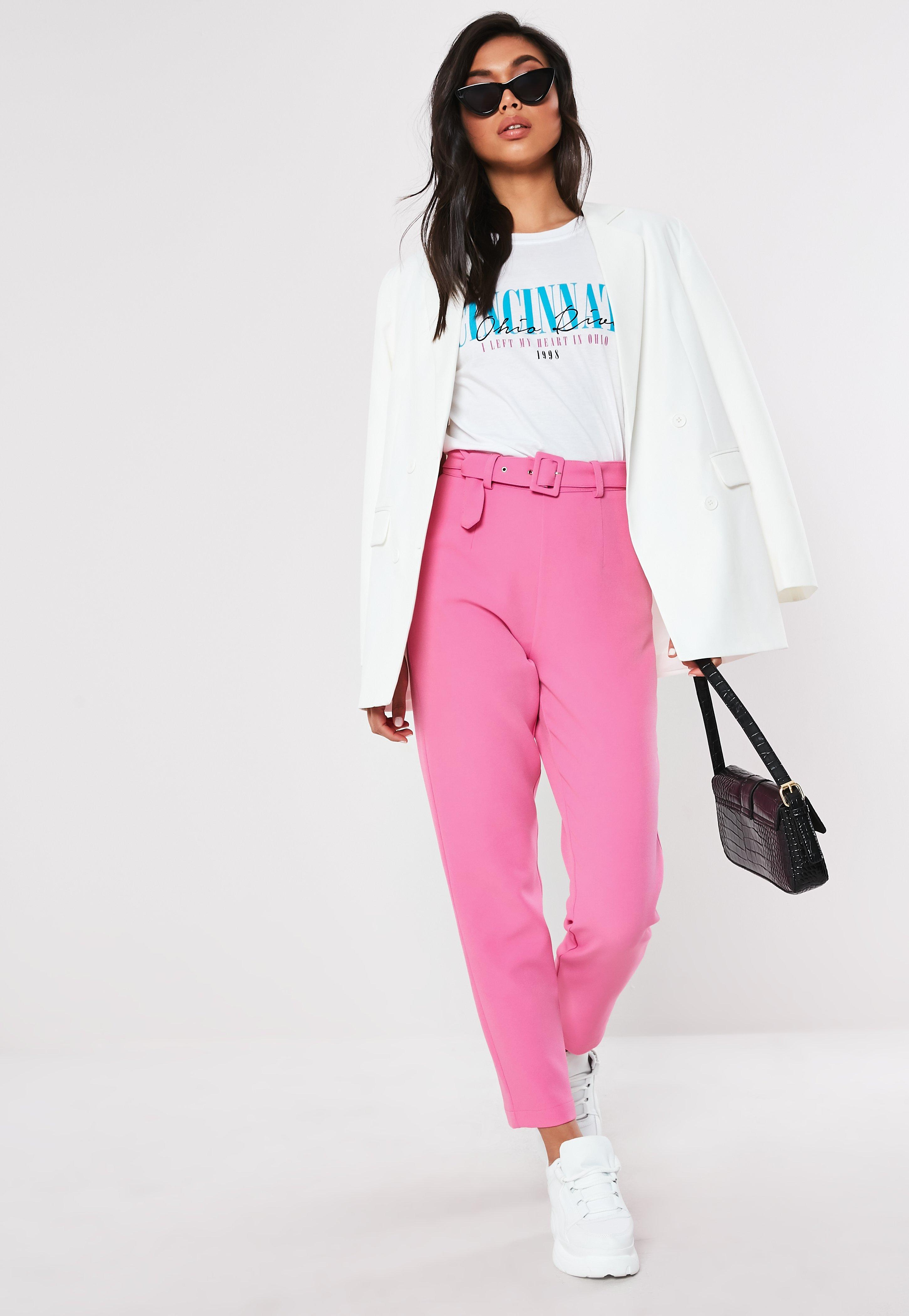 7ee5050044e1 Pink Co Ord Belted Cigarette Trousers | Missguided