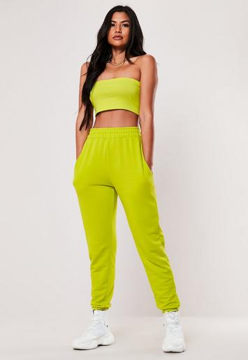 Lime Basic Joggers by Missguided