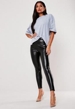 d34e5427fd2d5c Stone Faux Leather Wide Leg Trousers · Black Faux Leather Pin Tuck Leggings