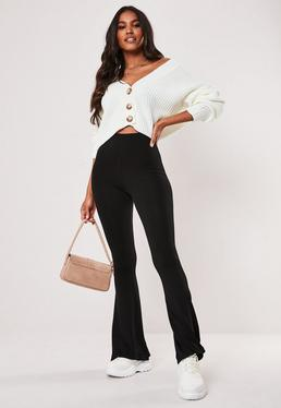 0ceb28749746 ... Black Jersey Flare Trousers