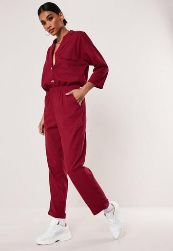 Red Co Ord Linen Look Trousers by Missguided