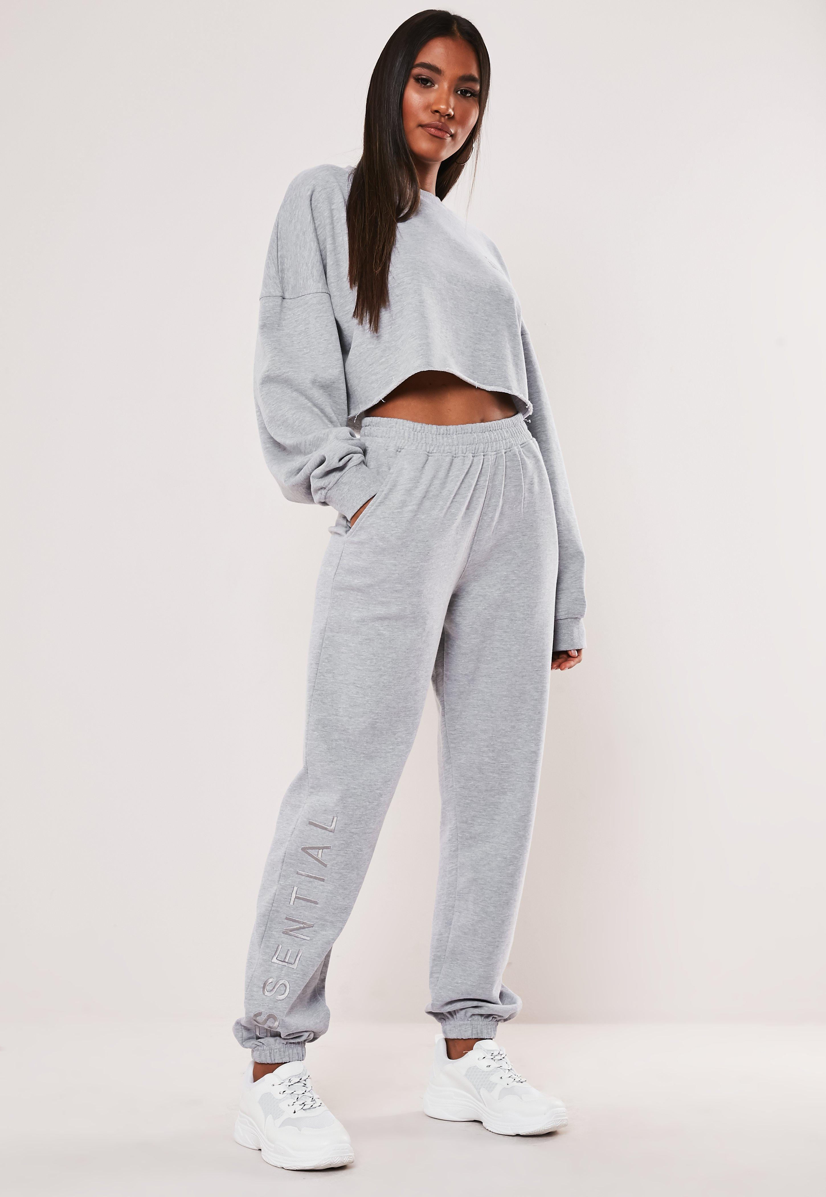 Gray Essential Embroidered Joggers by Missguided