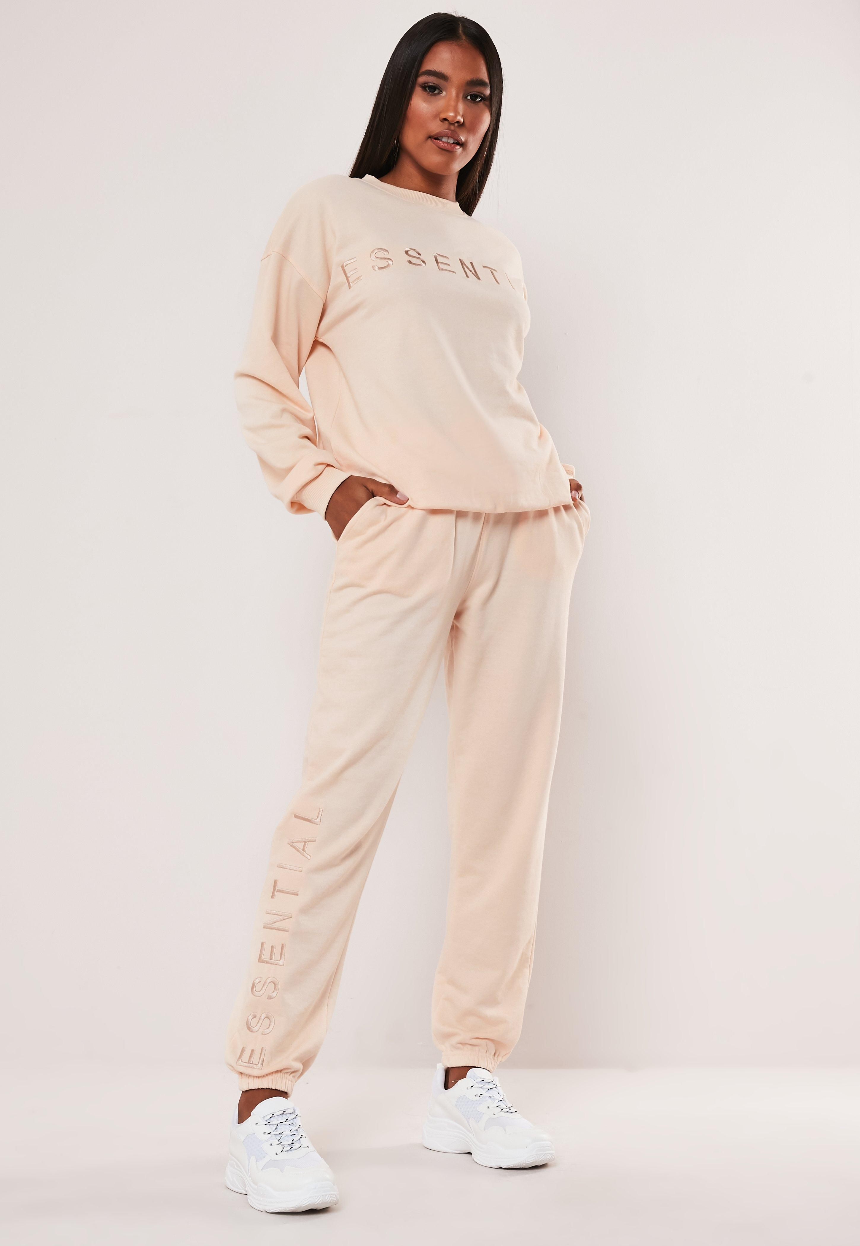 Sand Essential Embroidered Joggers by Missguided