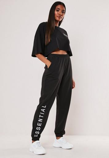 Black Essential Embroidered Joggers by Missguided