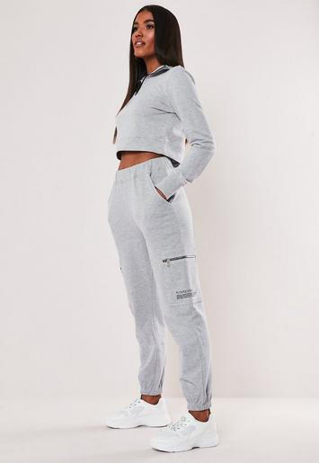 Grey Mg Slogan Pocket Detail High Waist Joggers by Missguided