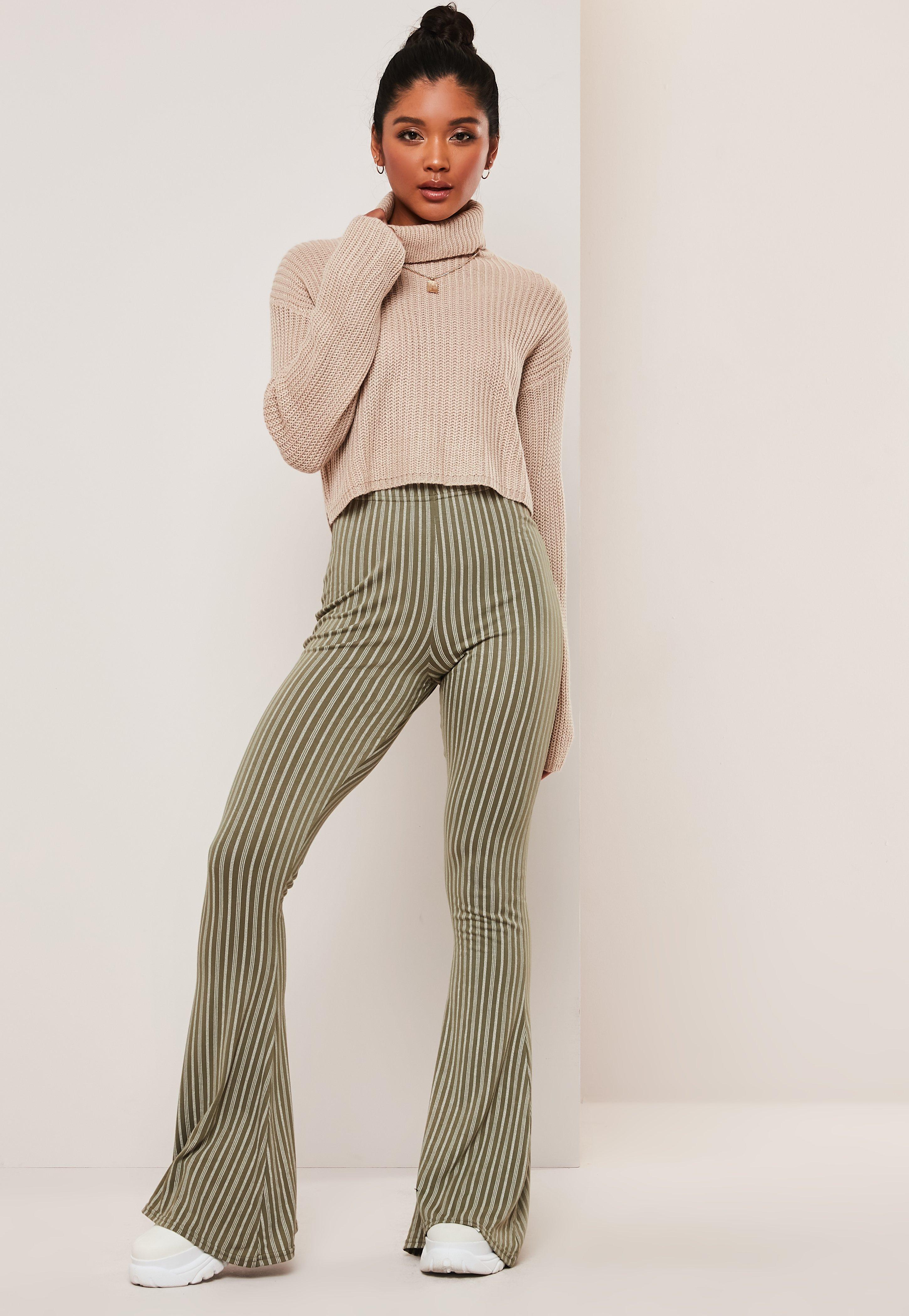 f7facab7 Khaki Stripe Flared Trousers