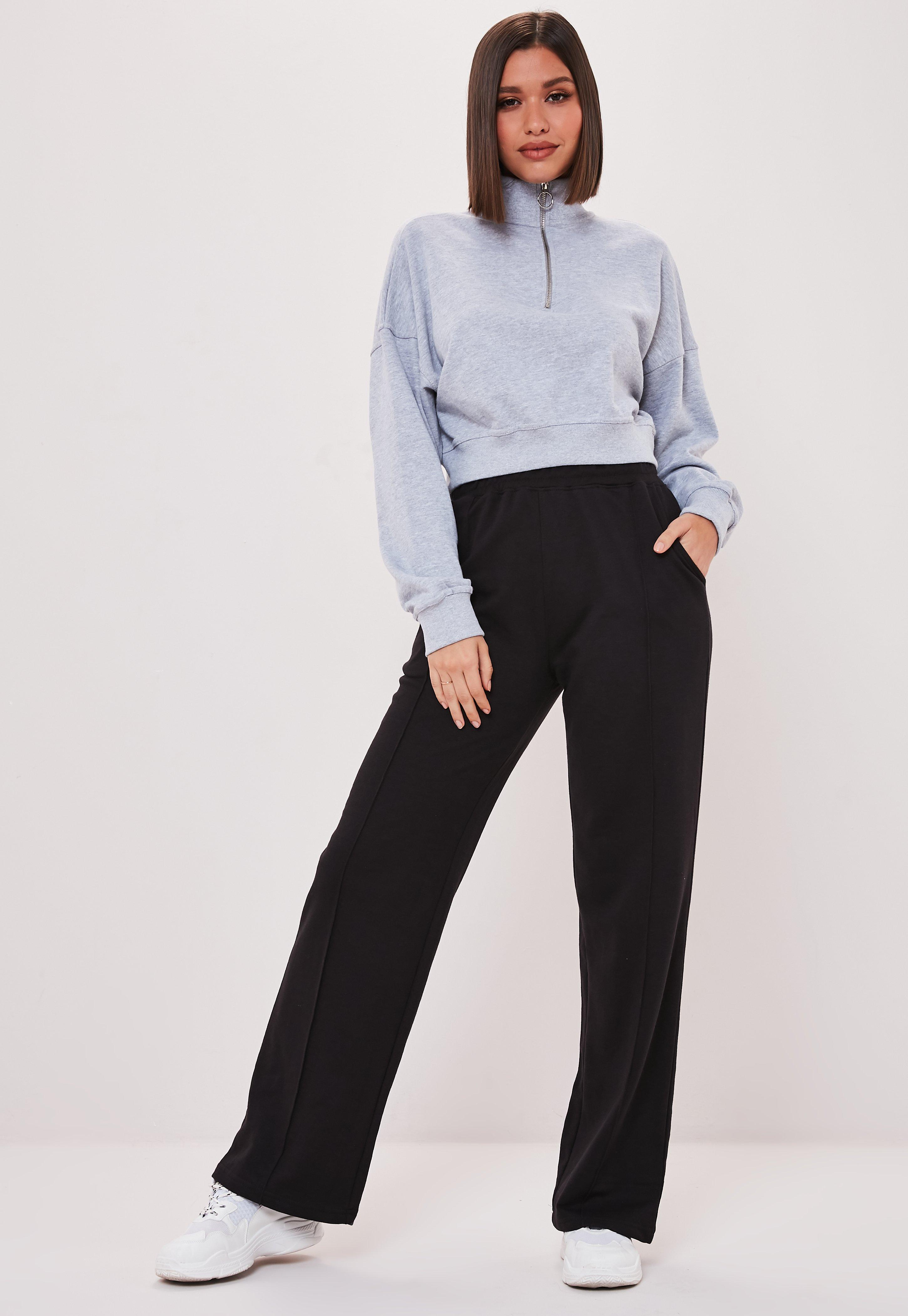 free delivery well known reliable quality Black Co Ord Wide Leg Joggers