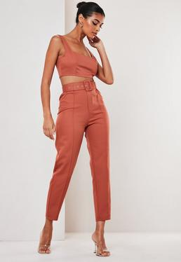 Rust Co Ord Belted Seam Detail Cigarette Pants