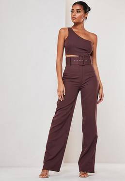 Purple Co Ord Super Belted Straight Leg Pants