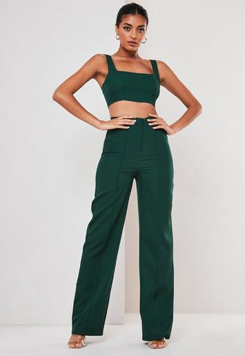Green Co Ord Seam Detail Straight Leg Trousers by Missguided