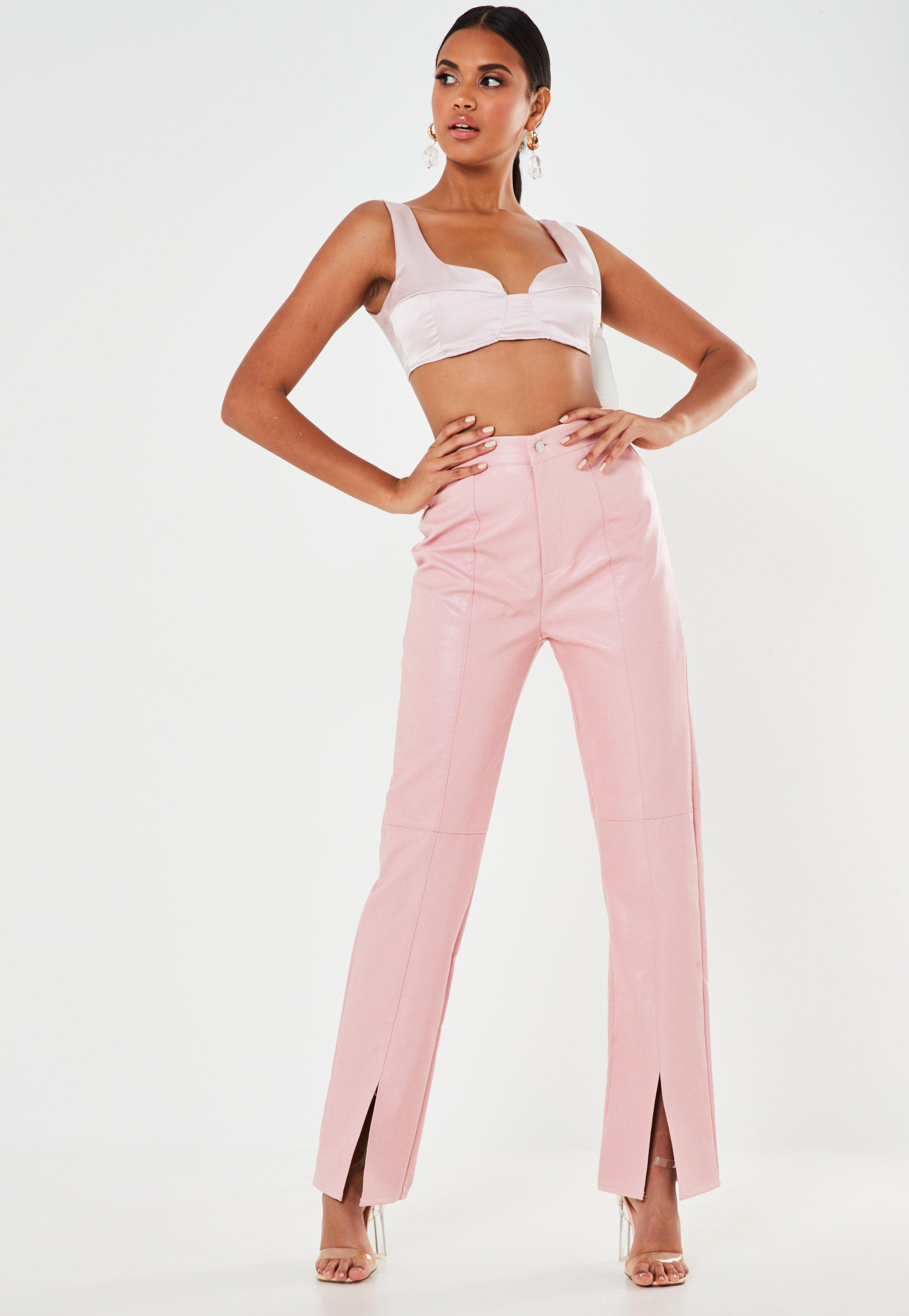 Image result for missguided pink faux leather split front trousers