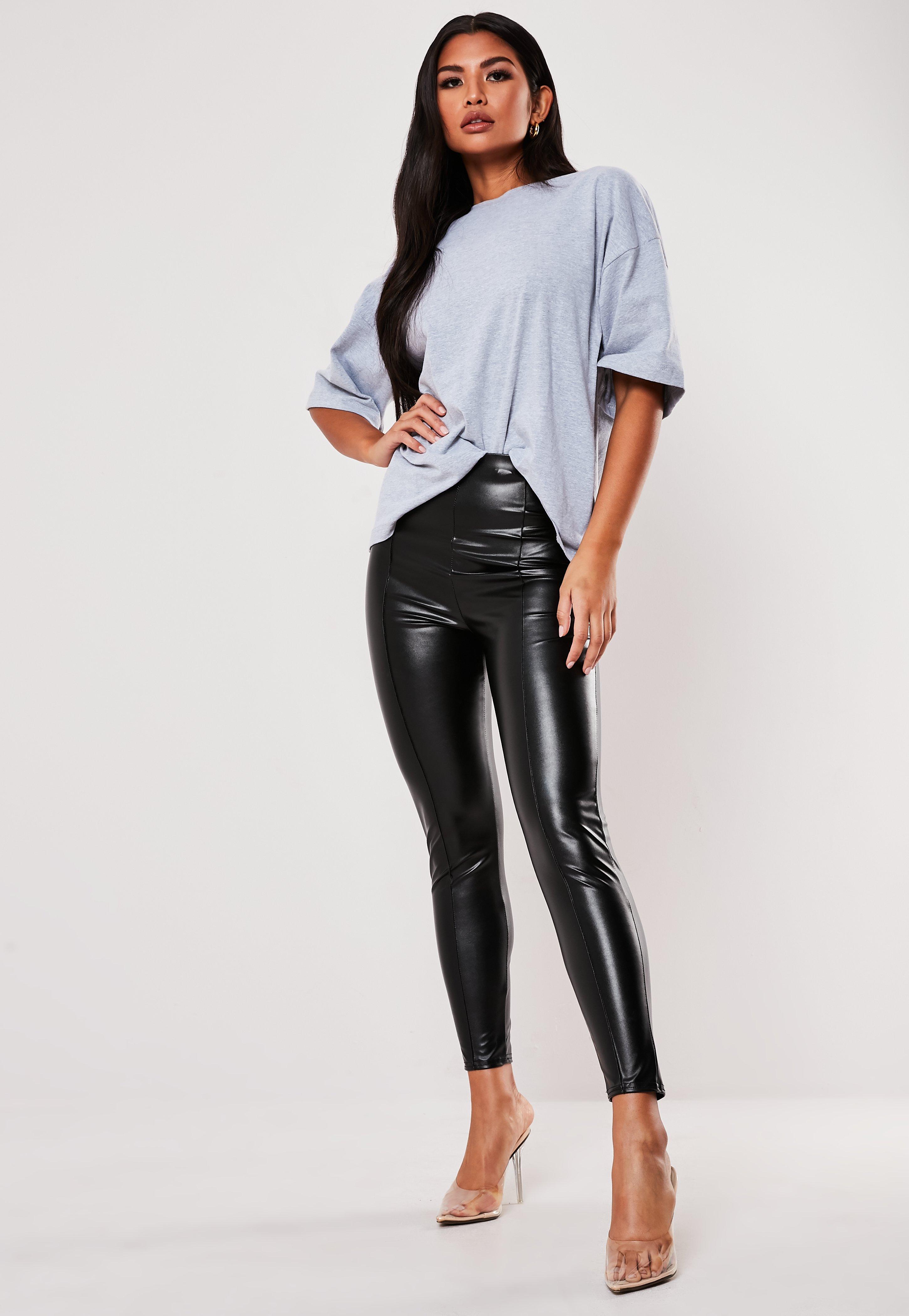 Black Faux Leather Pin Tuck Leggings