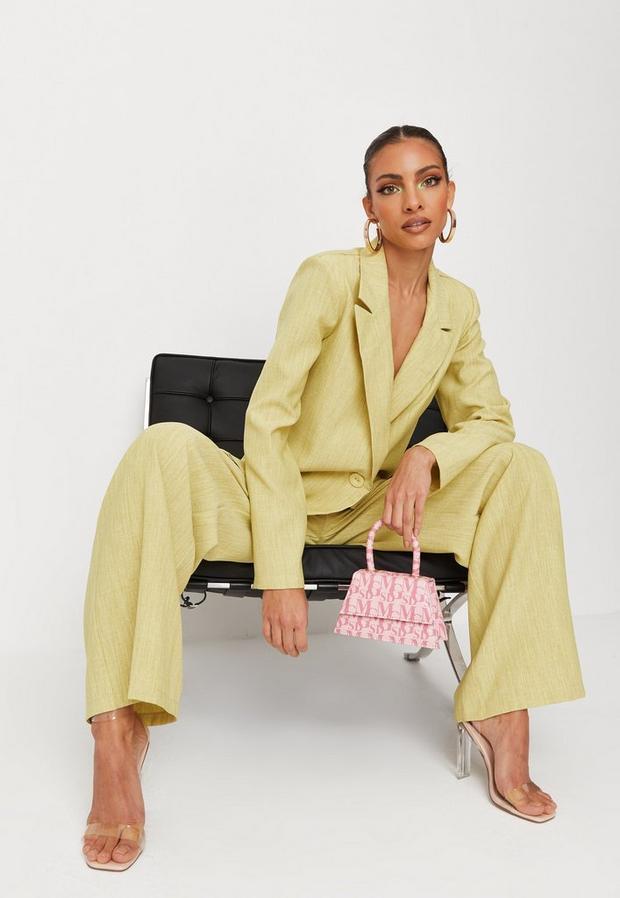 lemon linen look straight leg pants