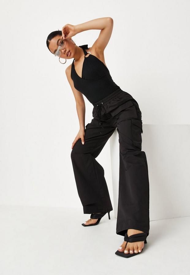black straight leg cargo pants