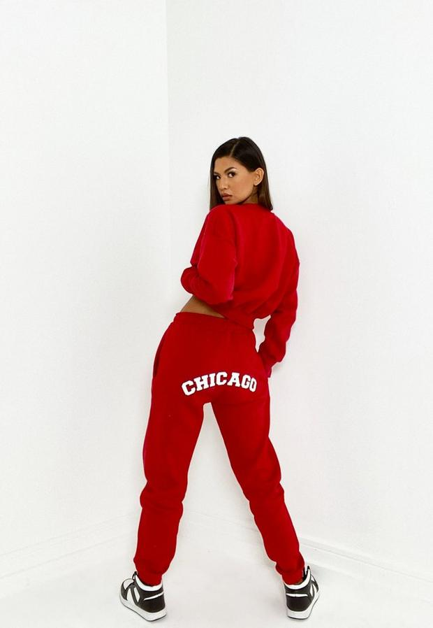 red co ord chicago graphic joggers