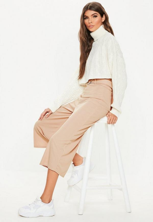 3d72fb5c8c94 sand rib wide leg cropped trousers