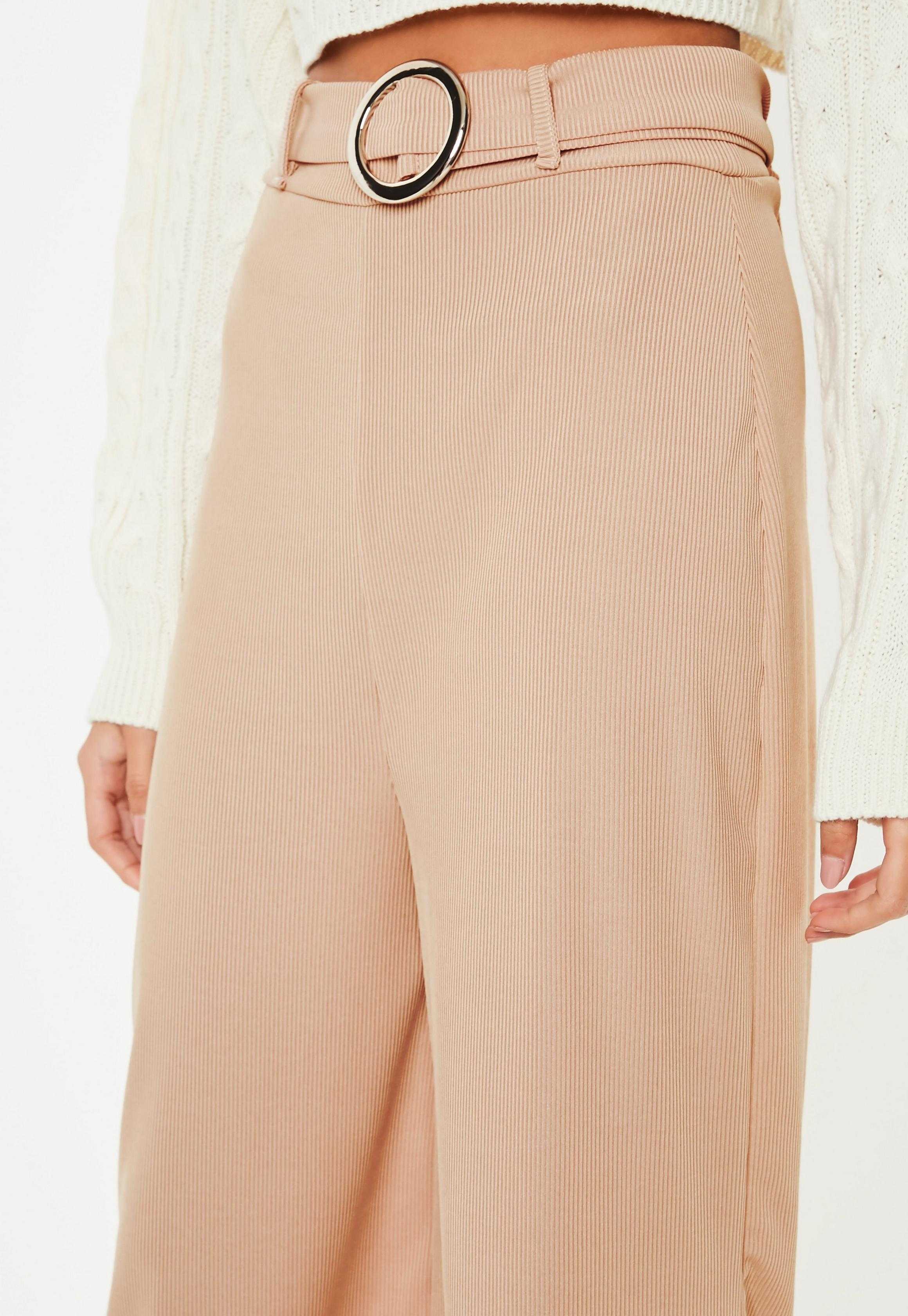 Sand Rib Wide Leg Cropped Trousers   Missguided Australia