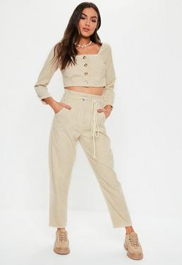 Nude Co Ord Cord Tie Waist Trousers 72c75aceb369
