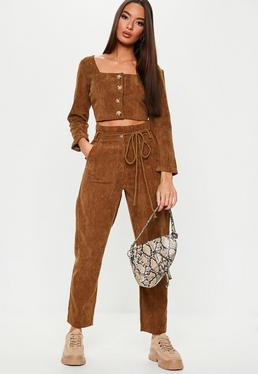 Chocolate Cord Tie Waist Co Ord Pants 5a80ab6601d3