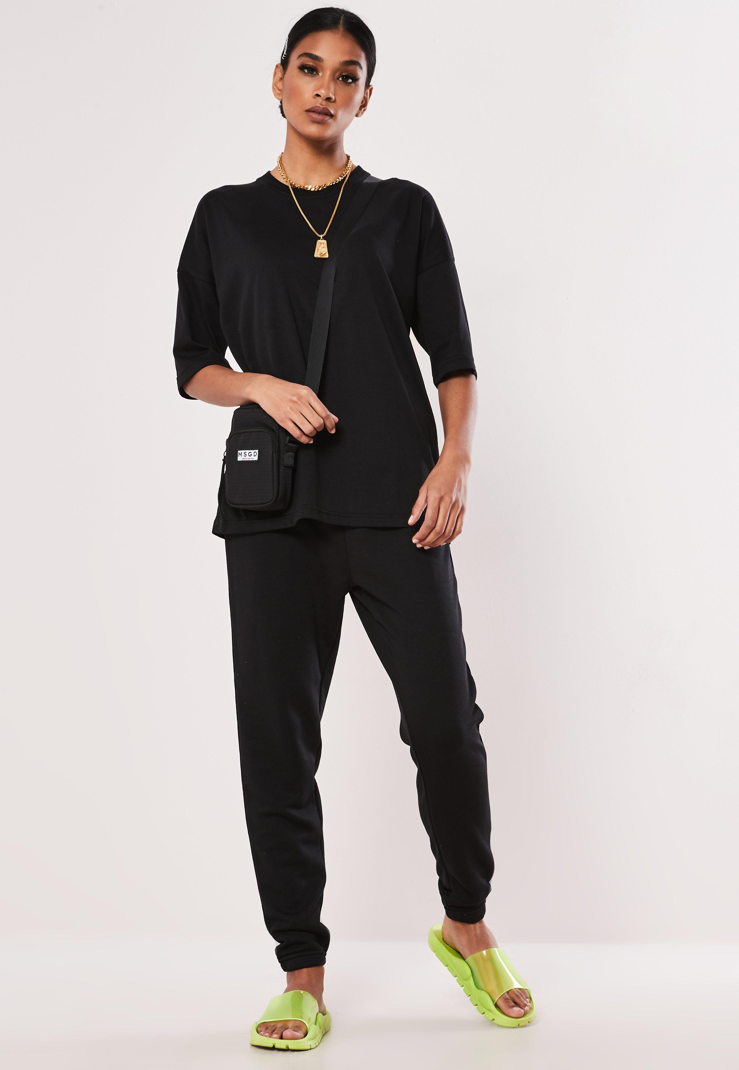 e71ca58b917 Black Oversized T Shirt and Jogger Co ord Set