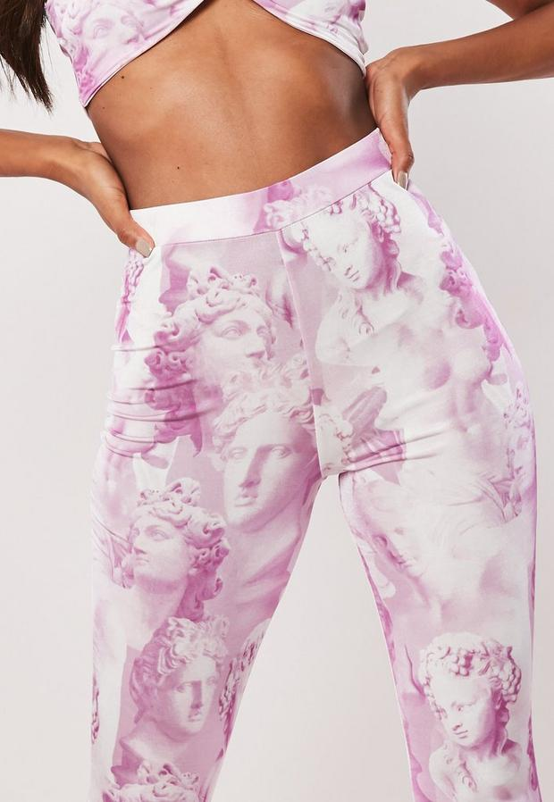 Missguided - Statue Print Wide Leg Trousers Co Ord - 3