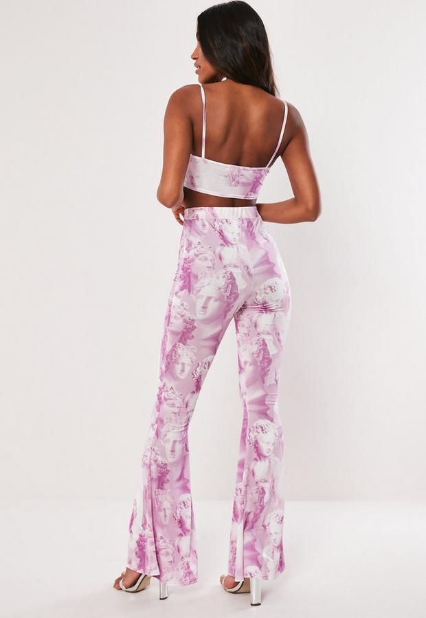 Missguided - Statue Print Wide Leg Trousers Co Ord - 4