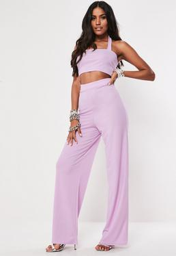 45d230569aa0b ... Lilac Halter Neck Crop Top And Wide Leg Trouser Co Ord Set