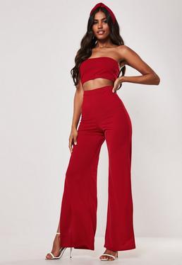 6232998be1c015 Peace + Love Białe spodnie z długimi cekinami · Czerwony komplet: spodnie z  szerokimi nogawkami + krótki top