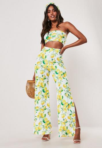 Yellow Lemon Print Bandeau Top And Wide Leg Trousers Co Ord Set by Missguided