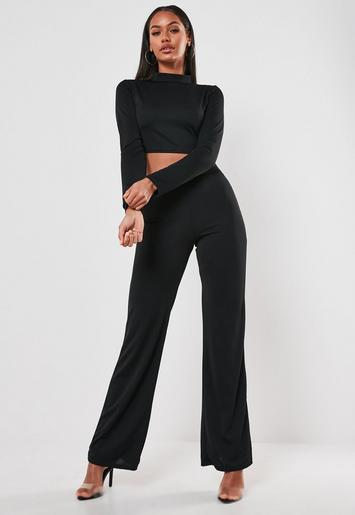 black-high-neck-crop-top-and-trouser-co-ord-set by missguided