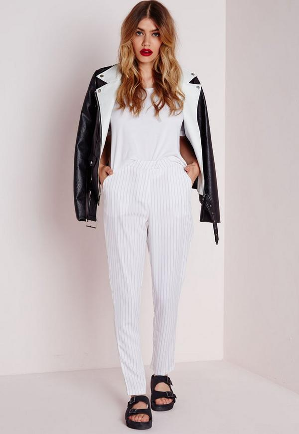 Pinstripe Cigarette Trousers White
