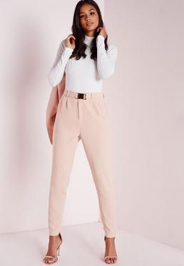 Gold Buckle Detail Cigarette Pants Nude