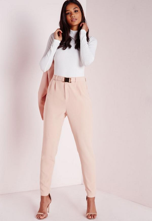 Gold Buckle Detail Cigarette Trousers Nude