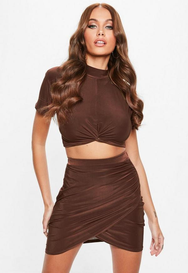 Brown Soft Touch Slinky Wrap Skirt by Missguided