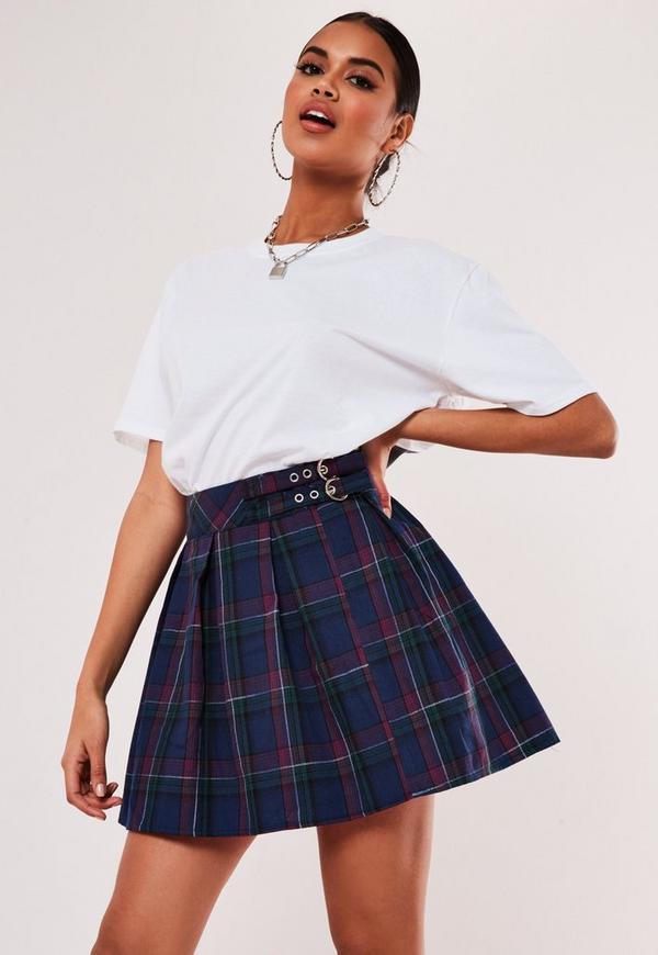 Blue Plaid Print Pleated Buckle Mini Skirt Missguided