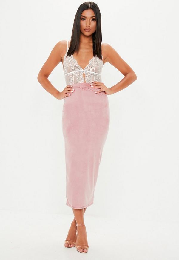 4c93c4bd5531 Pink Suede Midi Skirt