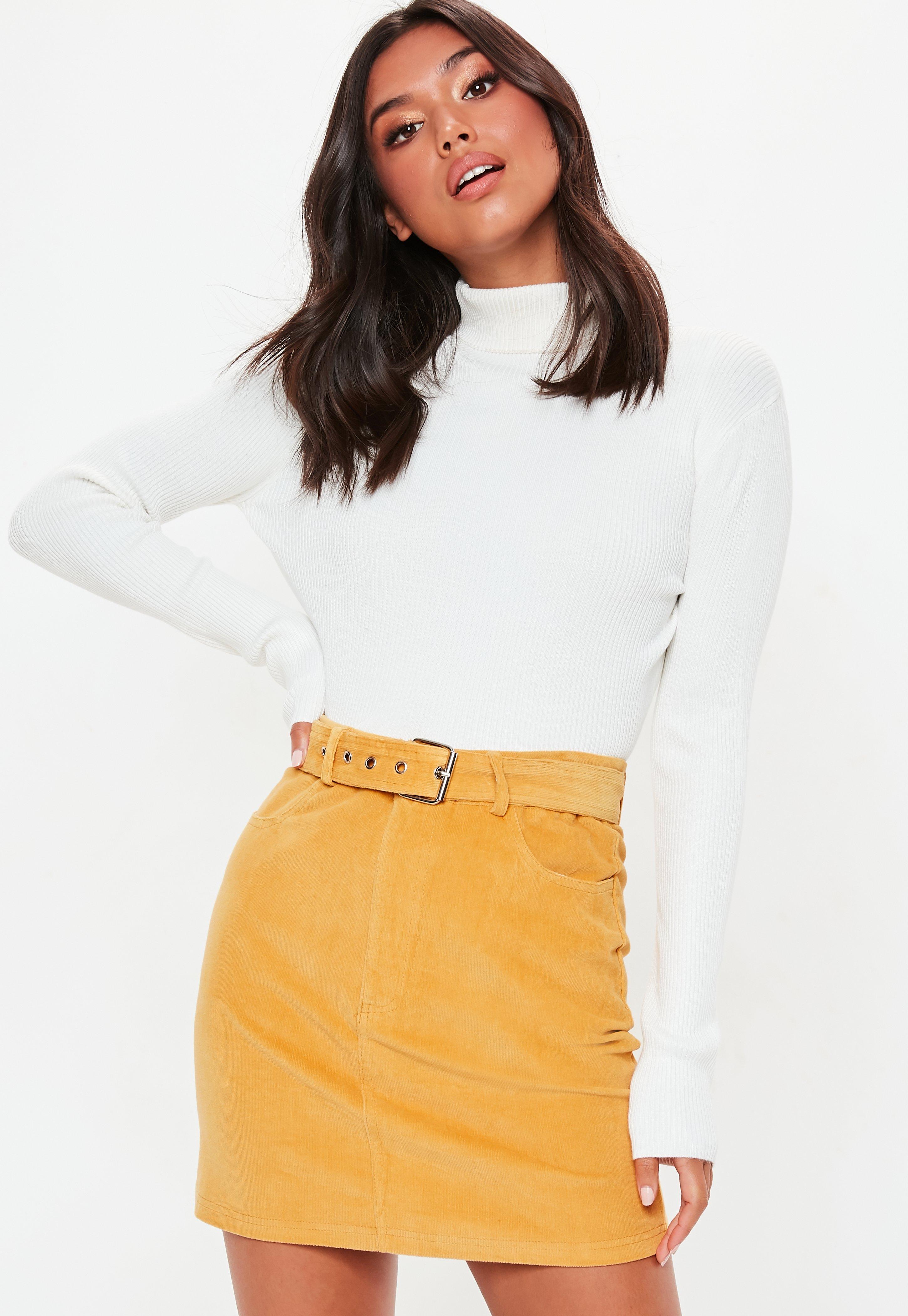 43f8dfdfa8a86d Mustard Corduroy Buckle Detail Mini Skirt | Missguided Ireland