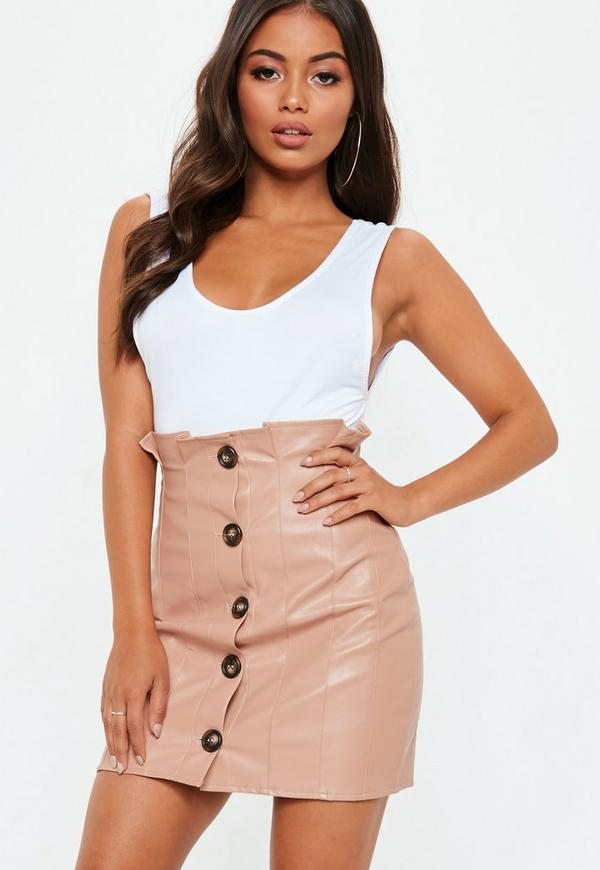 Pink Faux Leather Button Paperbag Mini Skirt by Missguided