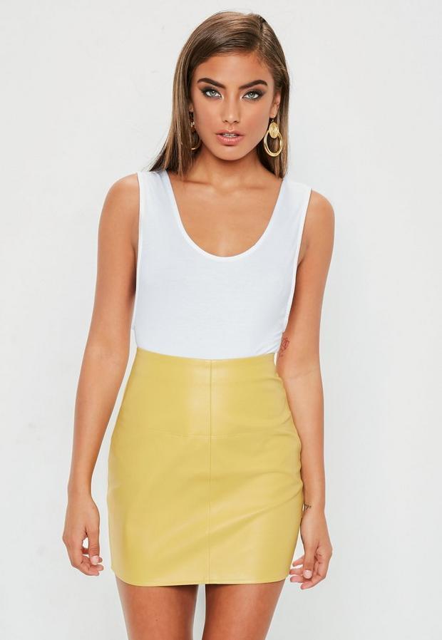 Yellow Faux Leather Mini Skirt