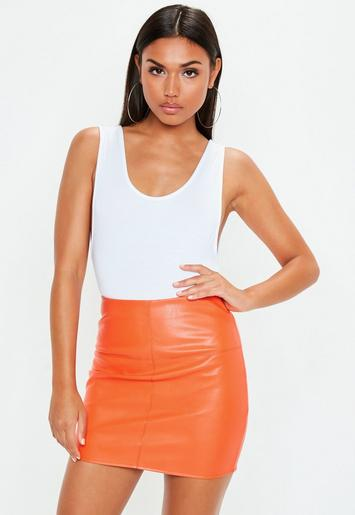 Orange Faux Leather Mini Skirt | Missguided