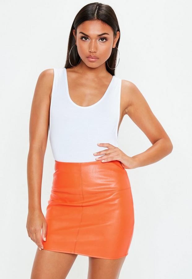Orange Faux Leather Mini Skirt