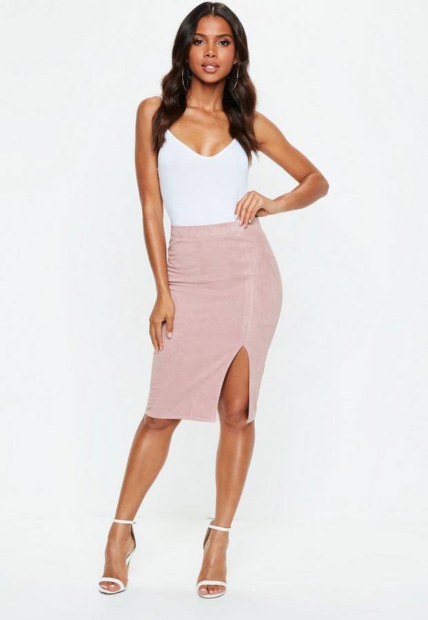 Pink Faux Suede Side Split Midi Skirt