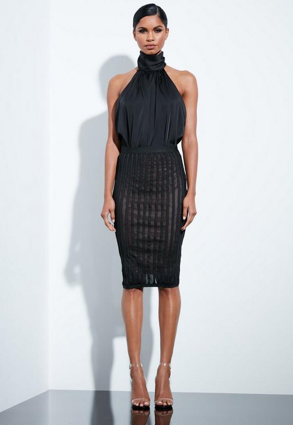 90e8540858 Peace + Love Black Mesh Bandage Pencil Skirt   Missguided Australia