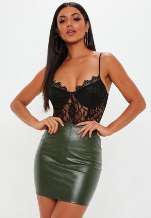 11292653a51c0 £7.20. khaki faux leather mini skirt
