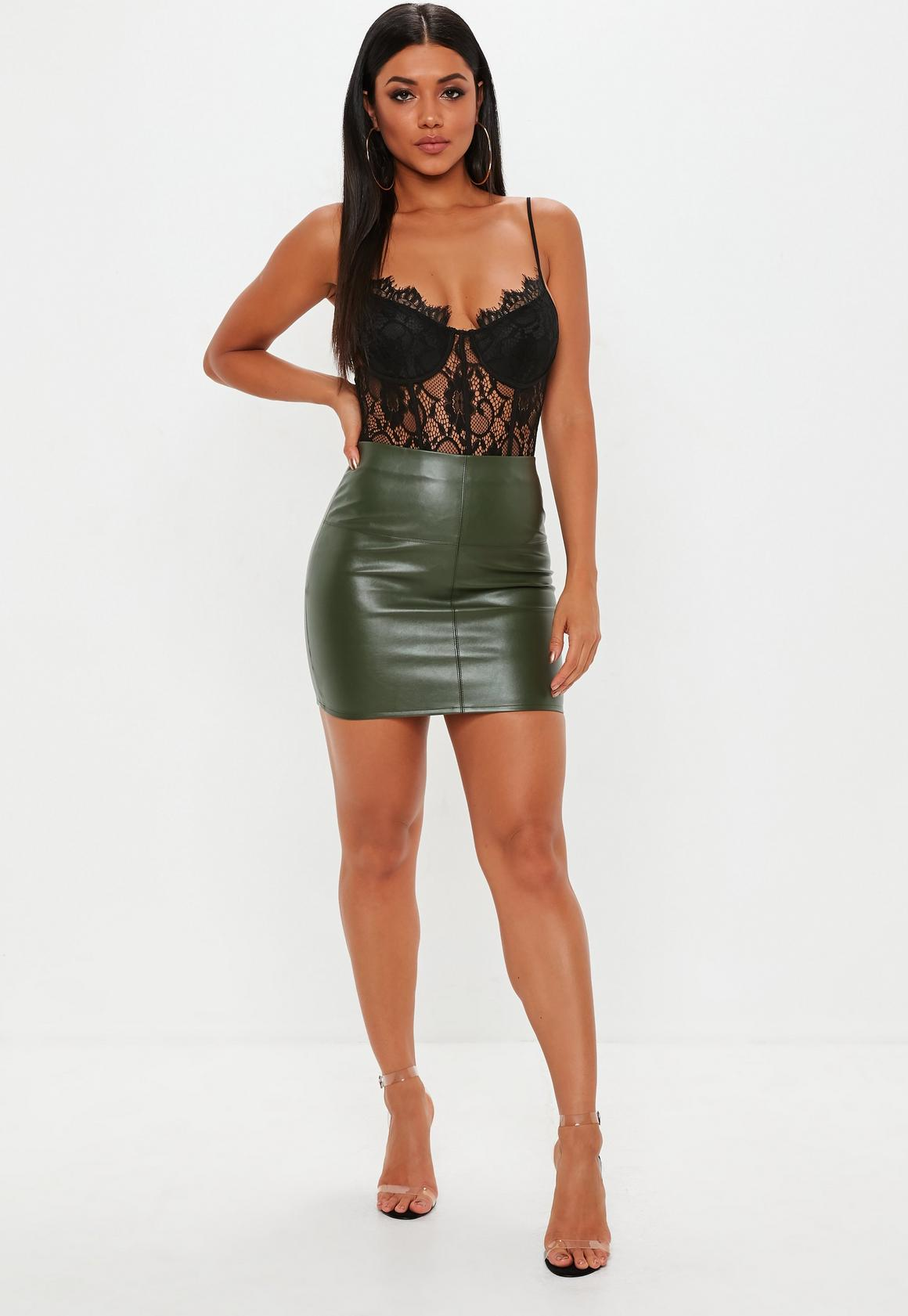 1d077570a Missguided Faux Leather Mini Skirt