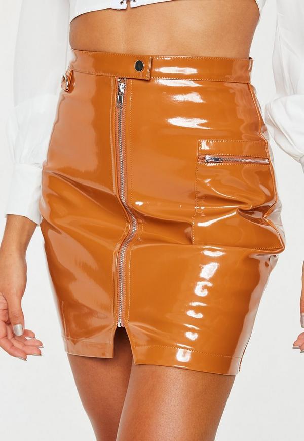 Tan Vinyl Utility High Waisted Zip Up Mini Skirt Missguided